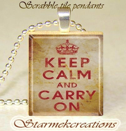 Scrabble tile pendant  Keep CALM and Carry ON by starmekcreations from etsy.com