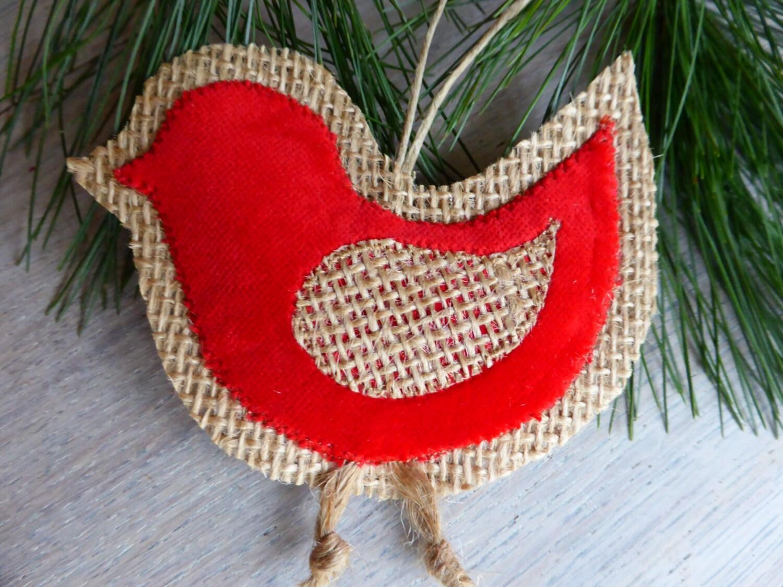 Burlap bird - red velure - Home Decor -