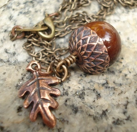 Sweet Copper Acorn Necklace - Copper Leaf  Bead Cap and Leaf on Brass Chain -  Limited Item