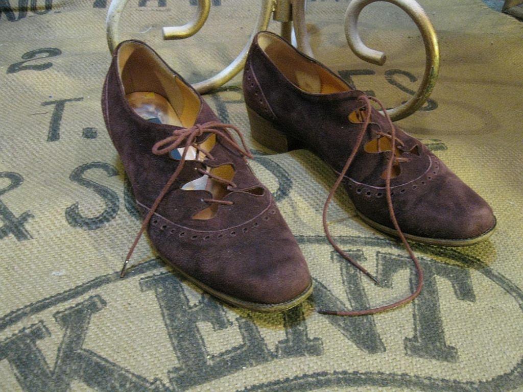 Burgundy Wine Wingtip tie ghillies vintage suede Oxford Menswear shoes 37 7 8