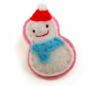 Hair Clip Cute Snowman Felt Hairclip NEW Design