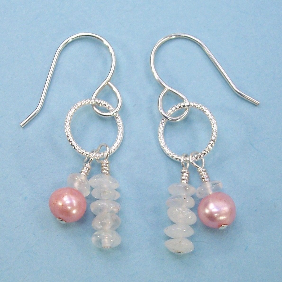 Etsy :: dashery :: O Moonstone and Pink Pearl Earrings
