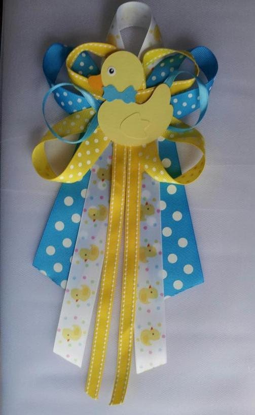 items similar to turquoise and yellow duck baby shower pin corsage on