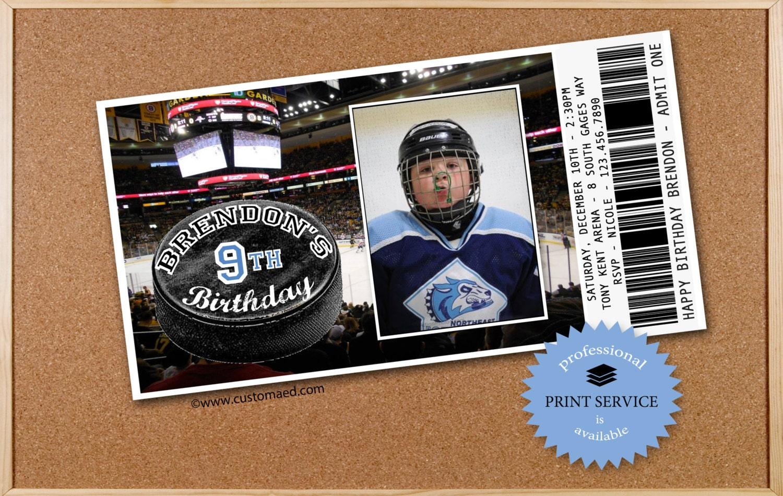 HOCKEY Birthday Invitations - PERSONALIZED with PHOTO - Printable ...