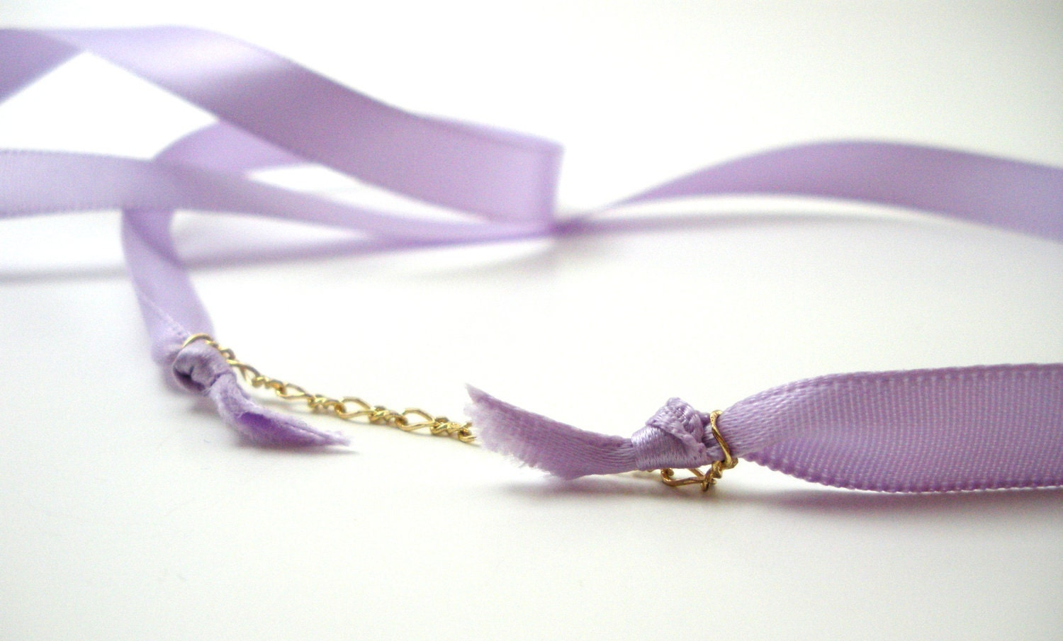 Lavender Satin Ribbon and Gold Chain Necklace