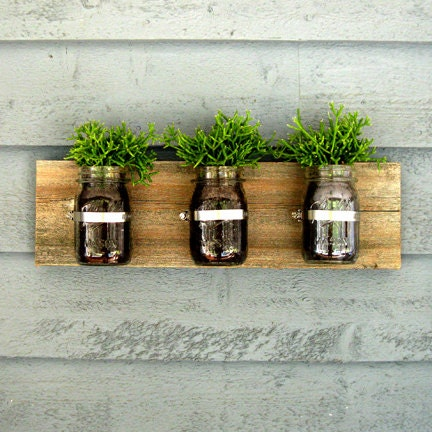 Mason Jar Wall Planter / Organizer Decor - tickledpinkgoods