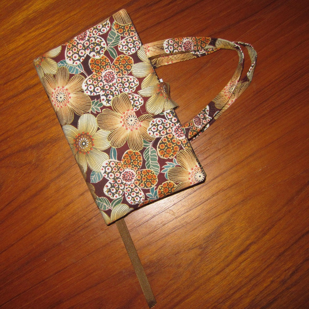Fabric Paperback Book Covers With Handles : Paperback fabric book cover floral design by japanesqueaccents