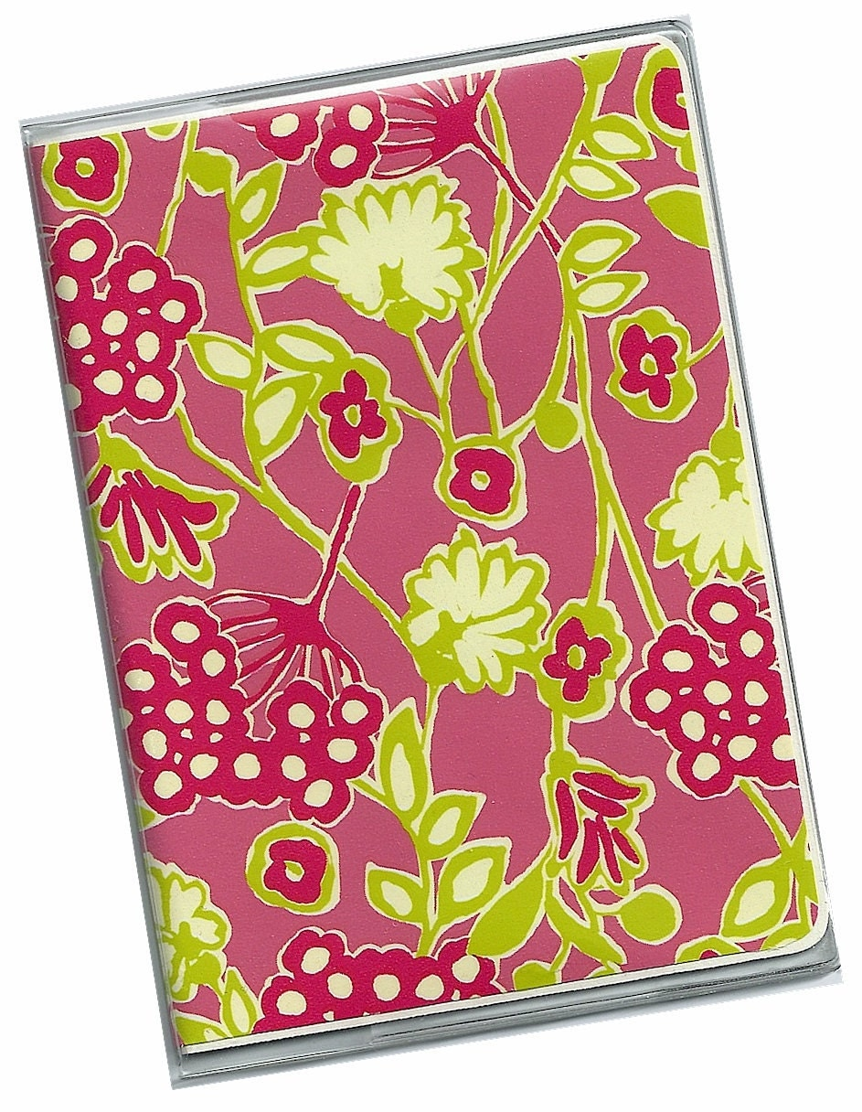 Passport Cover - Bloomers Preppy Pink and Green Floral - a cardstock and clear vinyl Case Holder Wallet 5a