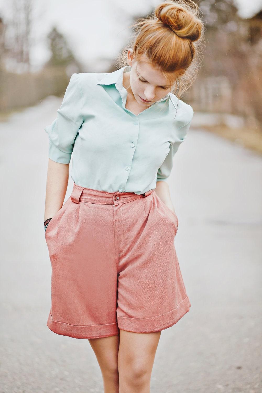 Vintage Shorts  / Pink Shorts / Pastel Shorts / Vintage High Waist Shorts in Pink