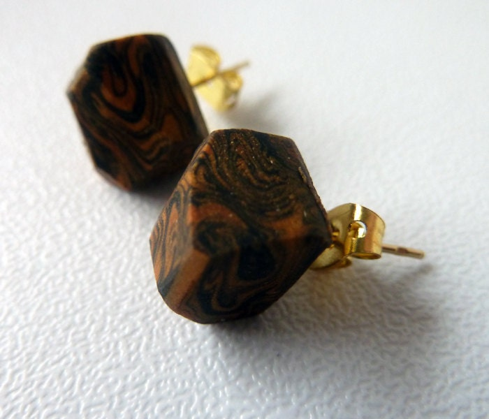 coal & copper marbled geo earrings