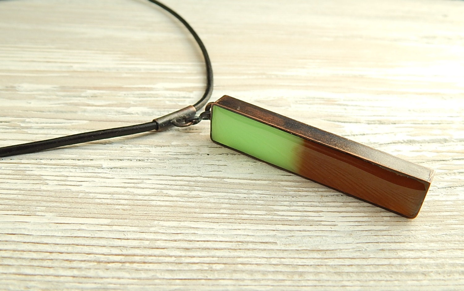 Mint Chocolate Resin Copper Bar Pendant on Leather Choker Pendant - Reddsmith
