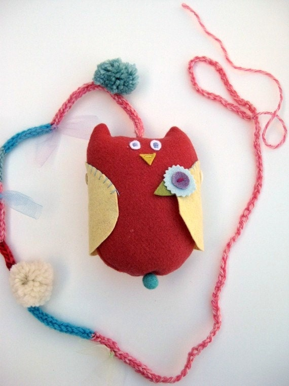 Handmade Hanging Wool Owl - Mini Mobile --- Ready to Ship