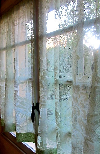 Pair Lace Curtains French Lace Panels Spearmint By Hatchedinfrance