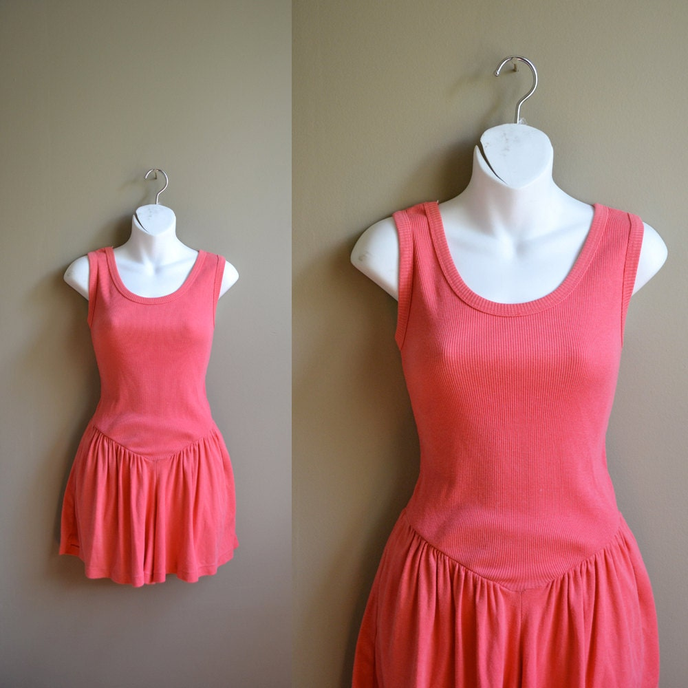 80s melon pink mini romper / size s m