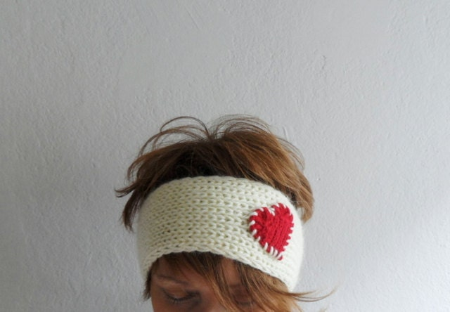 Knit Heart Headband Cream and Red, Ear warmer, Headwarmer, Head Wrap, Gift under 25, Gift for her - fizzaccessory