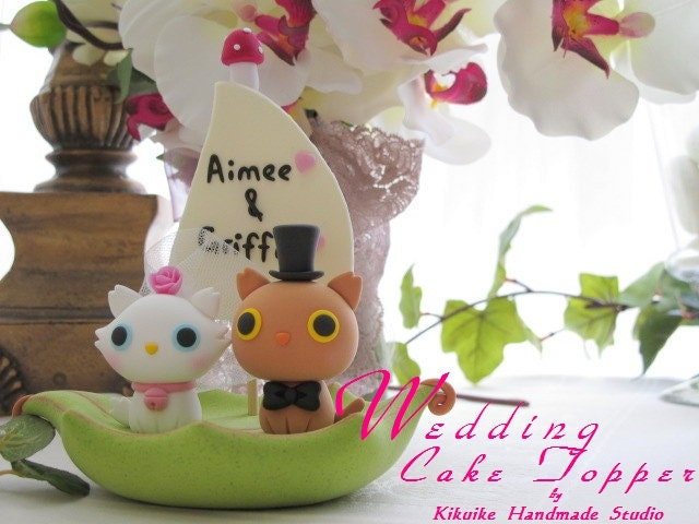 LOVE ANGELS Wedding Cake Topper-love kitty,love cat with leaf boat