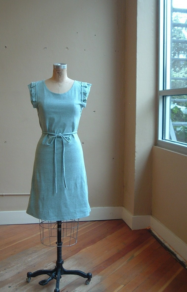 Egg Blue and Grey Heather cotton jersey dress