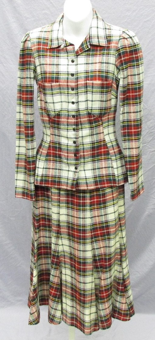 VTG 1970s Alley Cat by Betsey Johnson Tartan Plaid Dress XS