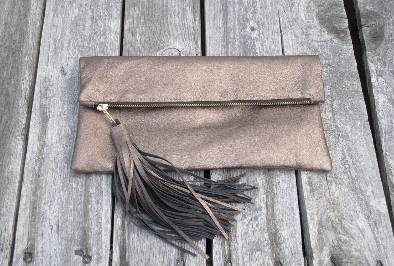 Metallic Bronze Tassel Clutch Genuine Leather Fold Over Clutch Womens Accessories - Metallic Bronze - FineThreadz