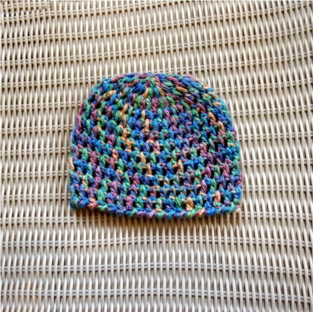 Newborn Beanie Crocheted , Variegated, Photo Prop, Shower Gift