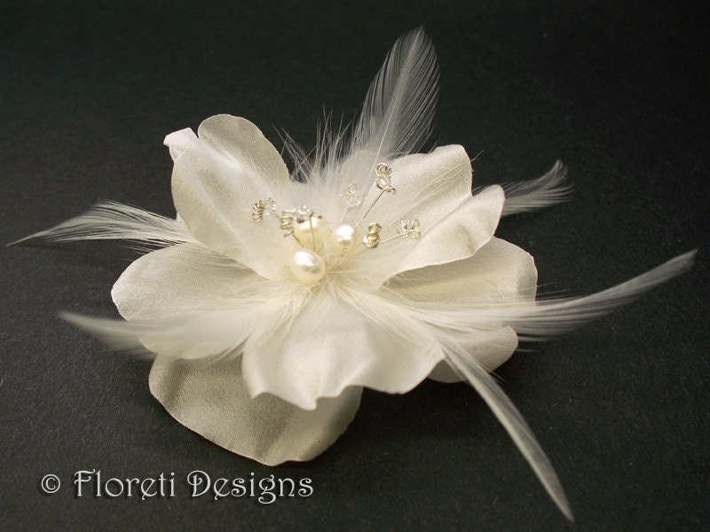 Luxury Light Ivory Rose Silk Bridal Hair Accessory Fascinator Pearls by Floreti from etsy.com