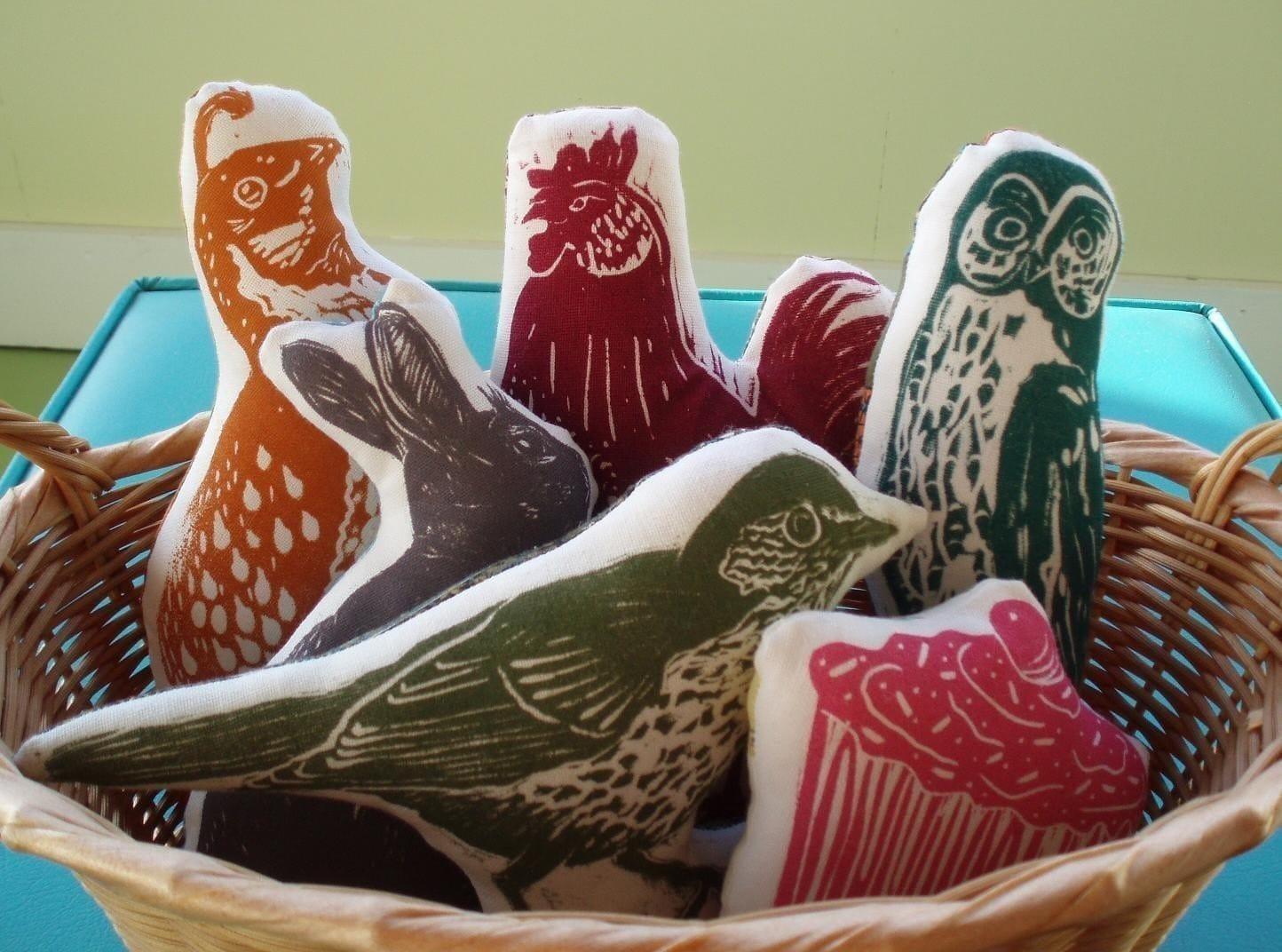 block print owl stuffie