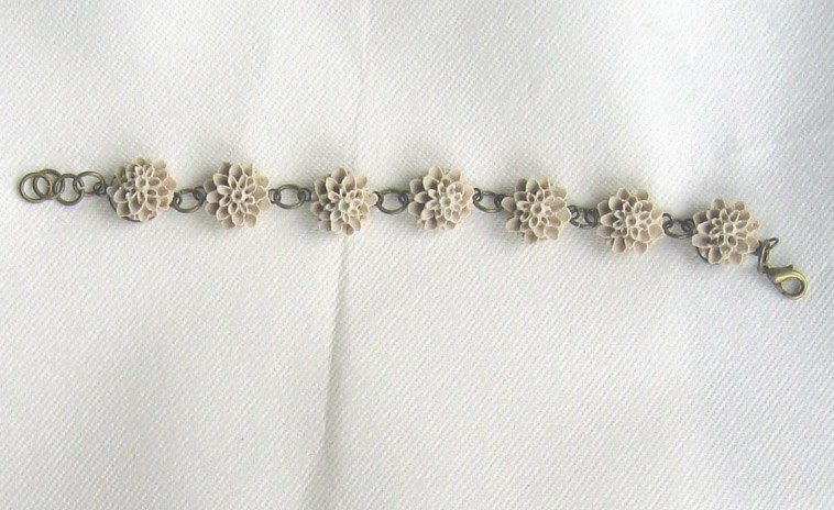 Floral Bracelet in Mushroom Colour, Ideal for Bridesmaids