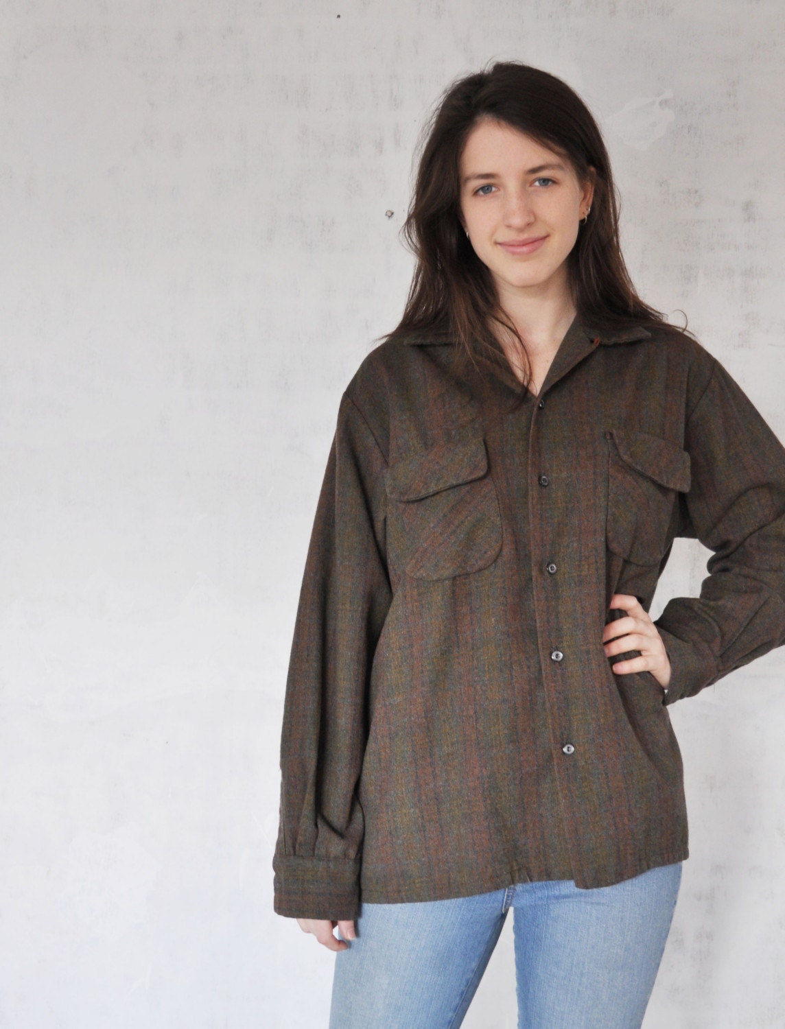 Vintage OVERSIZE 50s Plaid Flannel Shirt by MariesVintage on Etsy