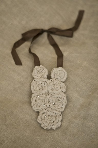 linen necklace with brown ribbon - SALE