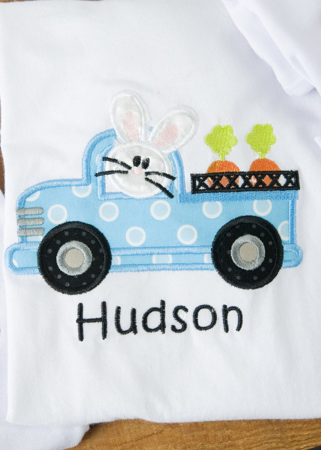 Appliqued, Personalized, Custom Boutique Truck Driving Bunny with Carrots.  Perfect for Easter Monogrammed