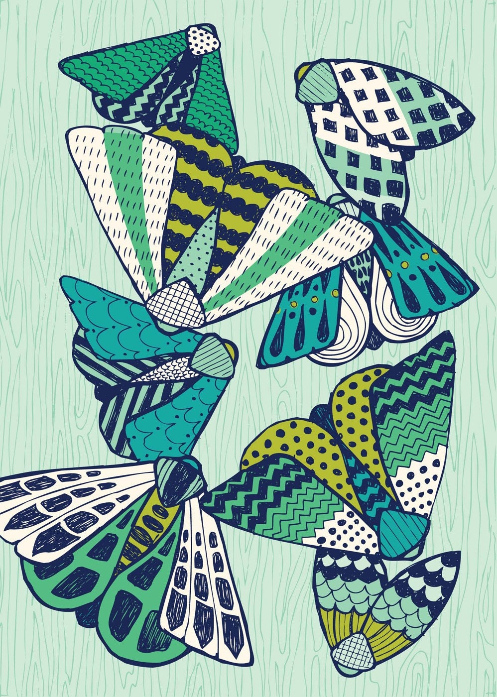 aqua moths 5x7