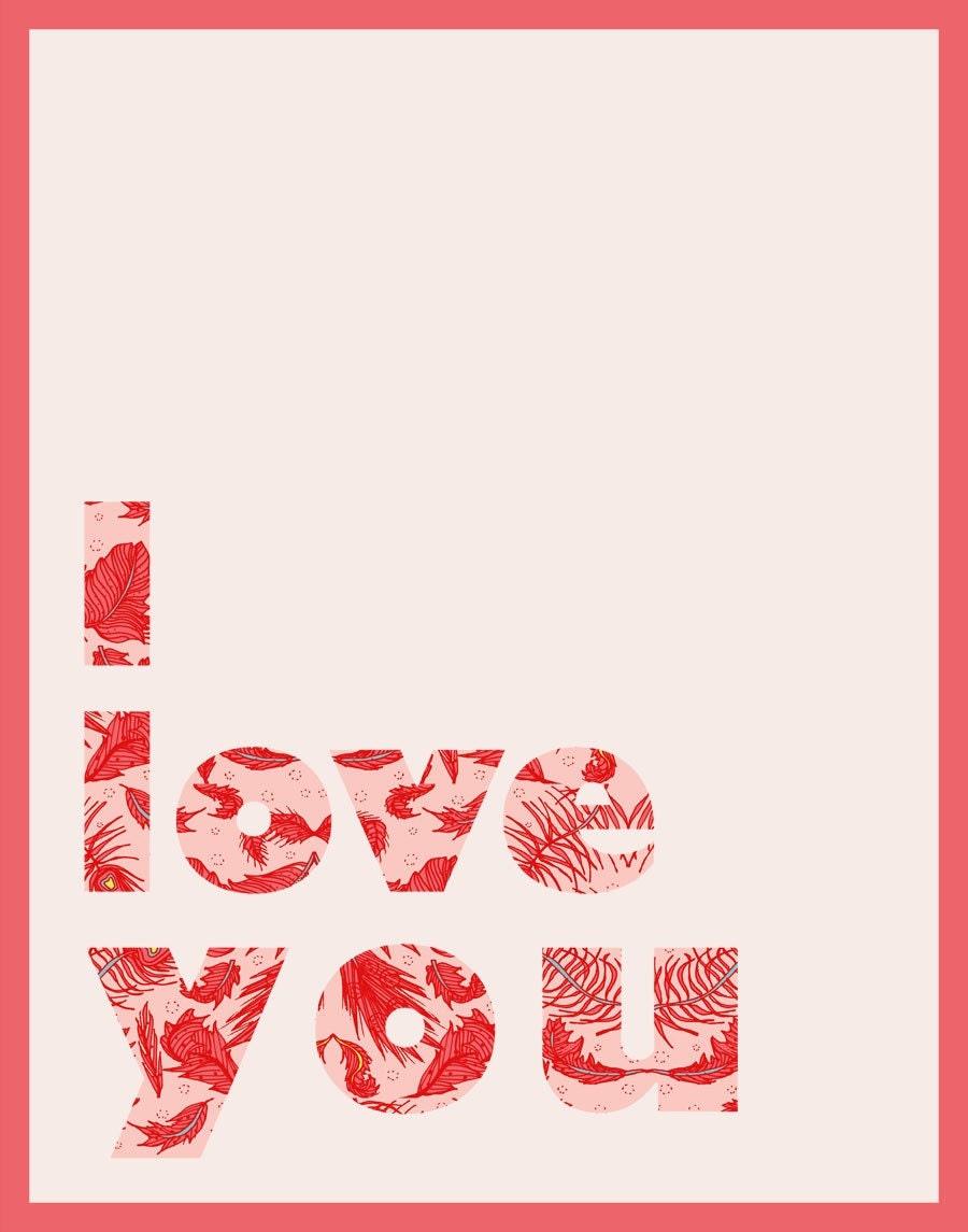"""Samantha Hahn """"I Love You"""" Print"""