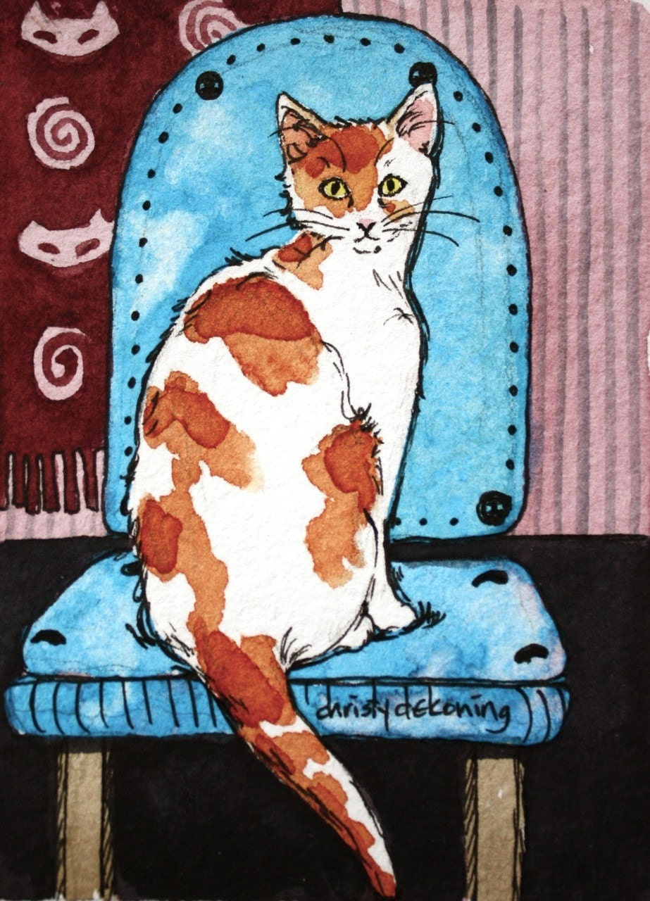 White and orange cat on blue chair ACEO print