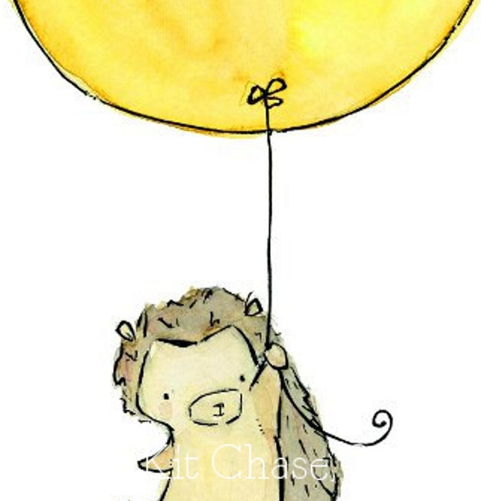 baby nursery art ---My Yellow Balloon--8x10 Archival Art Print - trafalgarssquare