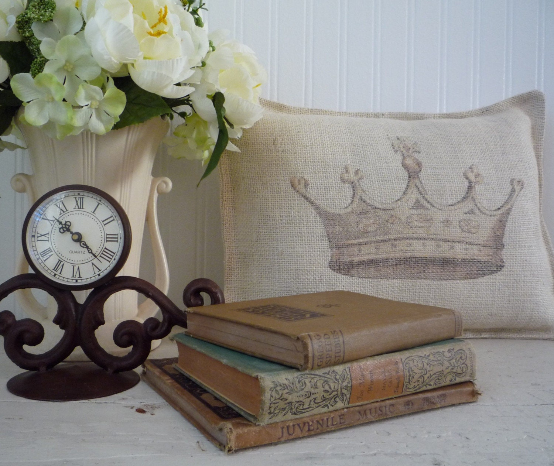 Burlap Crown Pillow