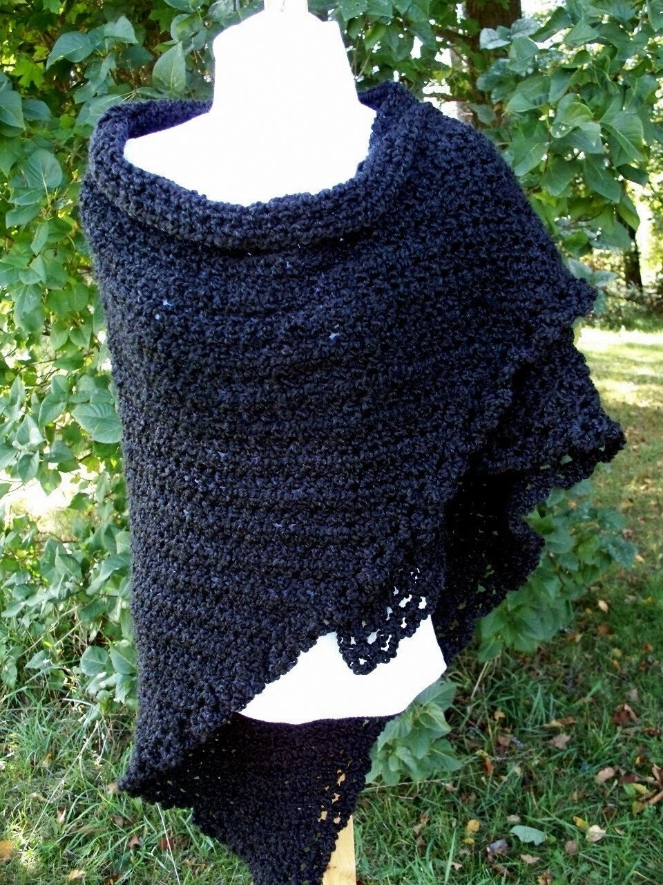 Classic Shawl in Black Homespun
