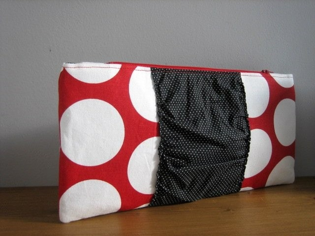 Ruffle Clutch - Red Pop Dot