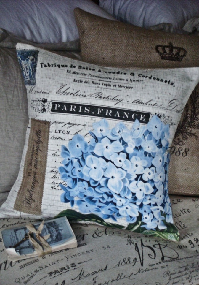 Pillow Cover...the Blue Hydrangea cotton and burlap