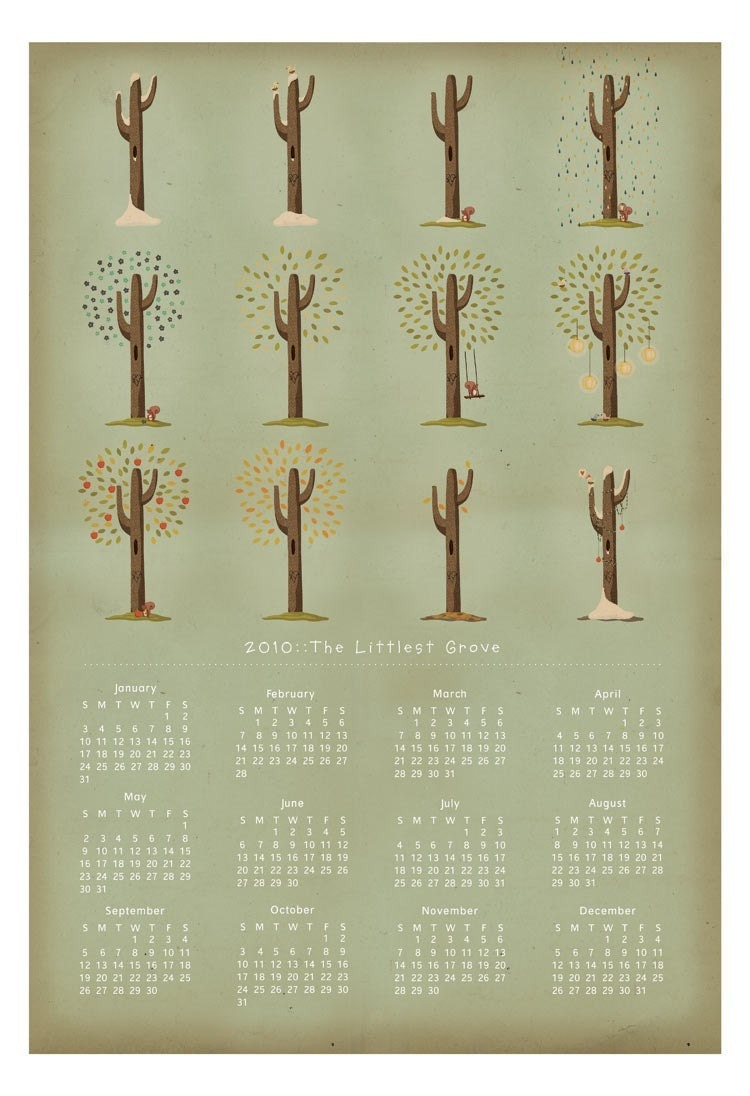 Seasons wall calendar, via Etsy: arian, USD$35