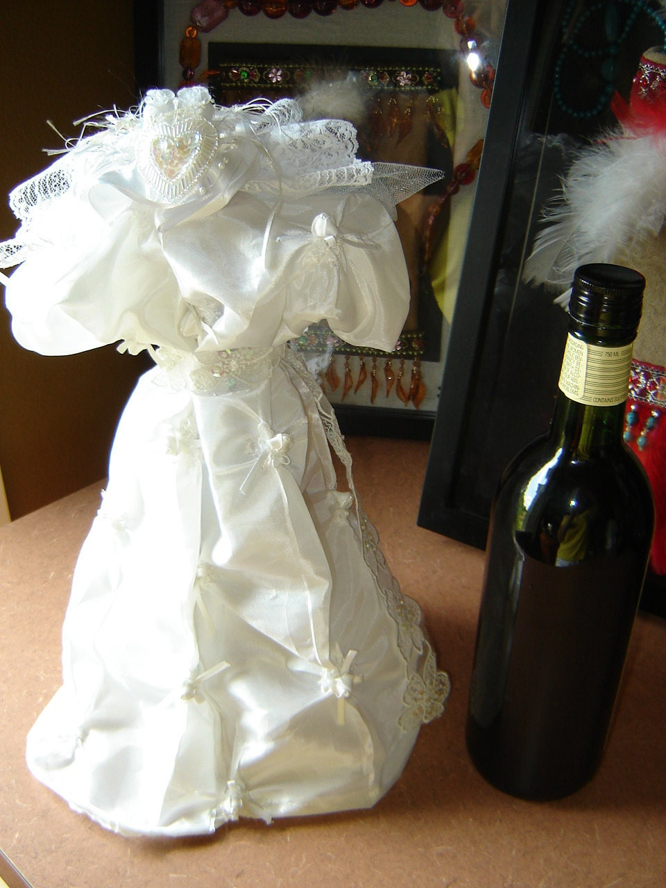 wedding dress bottle cover with satiny fabric by ...