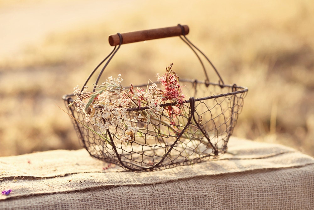 Flower Girl Baskets Canada : Rustic vintage style wire basket flower girl by