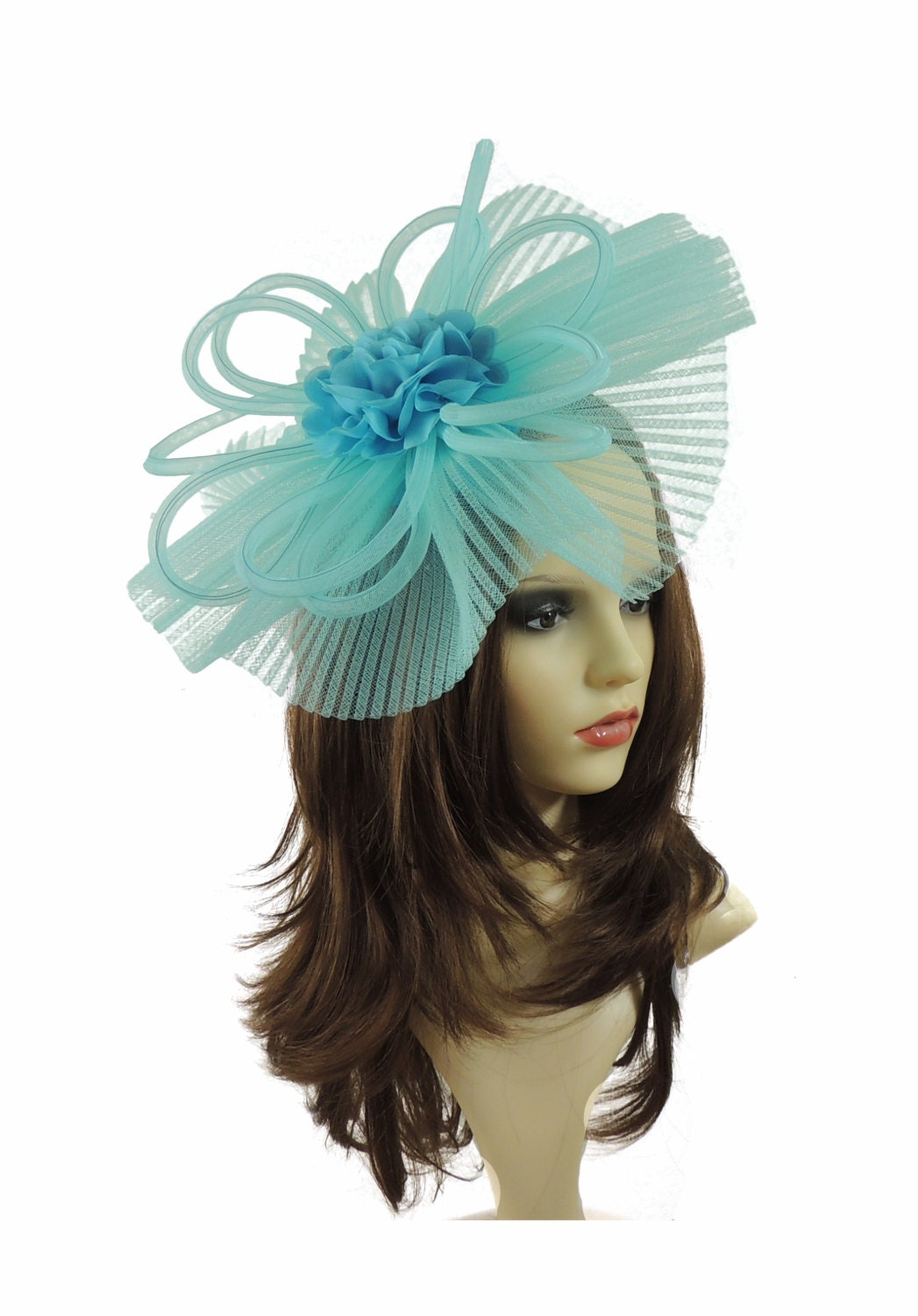 Devil Turquoise Fascinator Hat for Weddings Races and Special Events With Headband