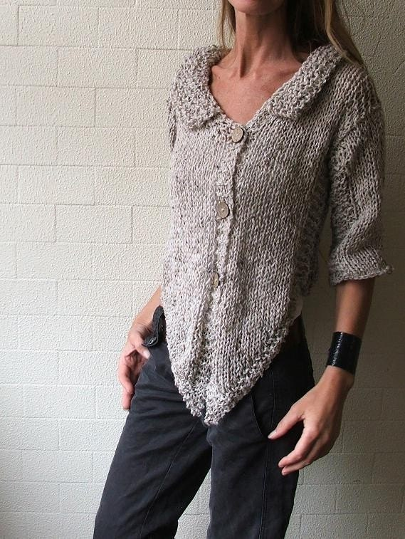 Oatmeal Alpaca blend tweed cardigan