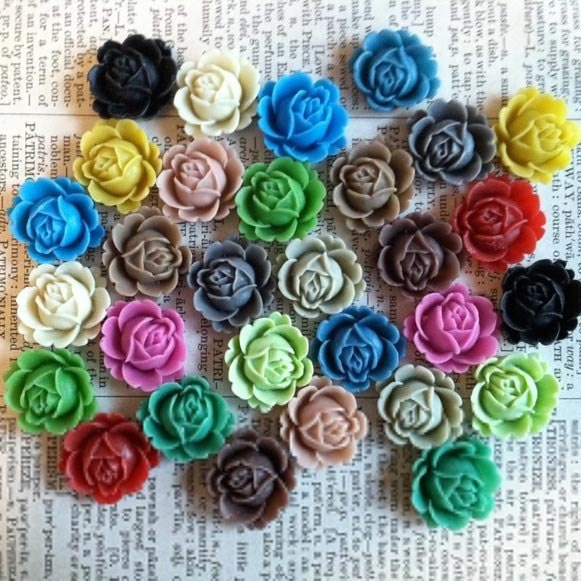 Intro SaLE - (fc2003) New Style Flower Cabochons matte finish - 20mm - Set of 15