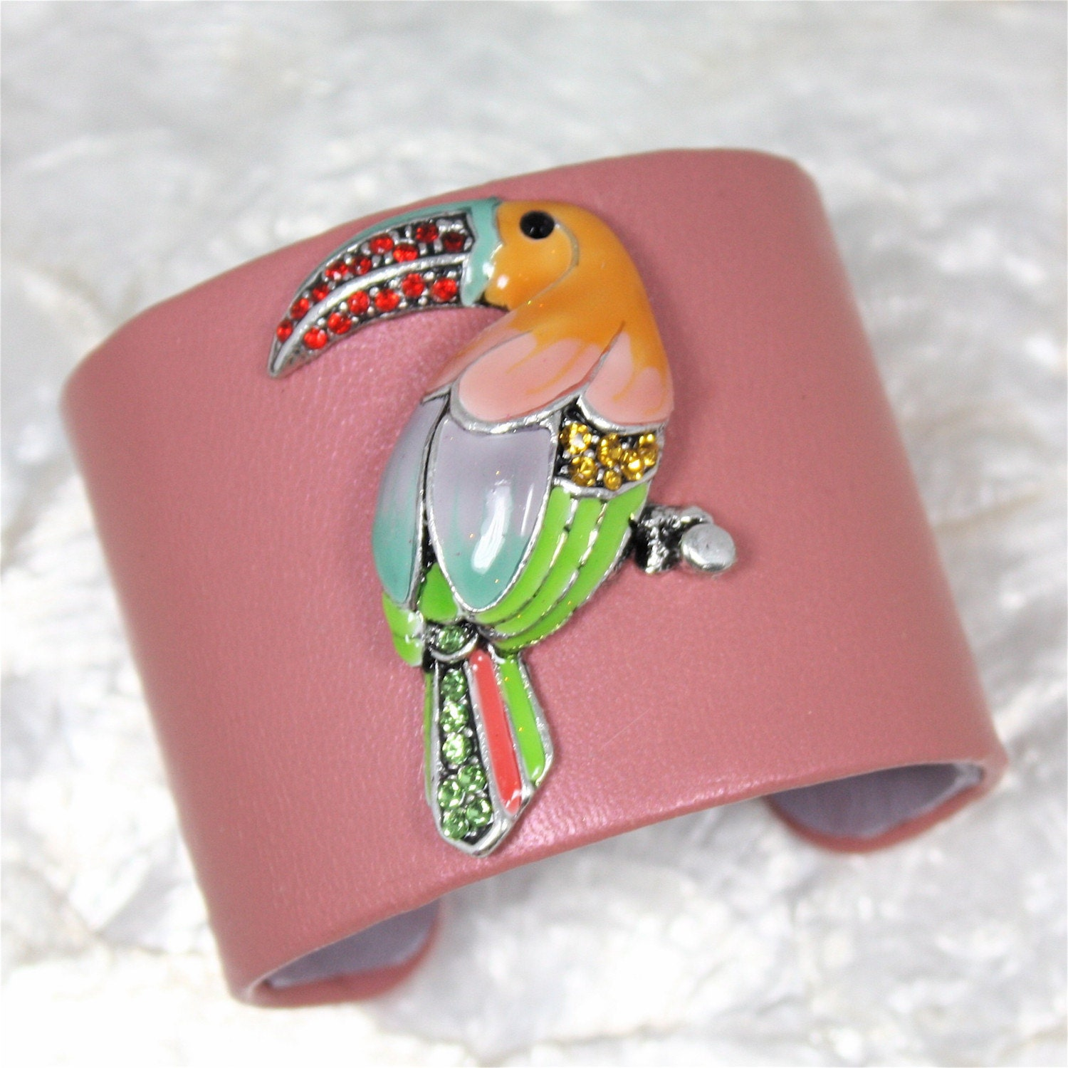 Birds of a Feather Jeweled Leather Cuff Bracelet-- Limited Edition