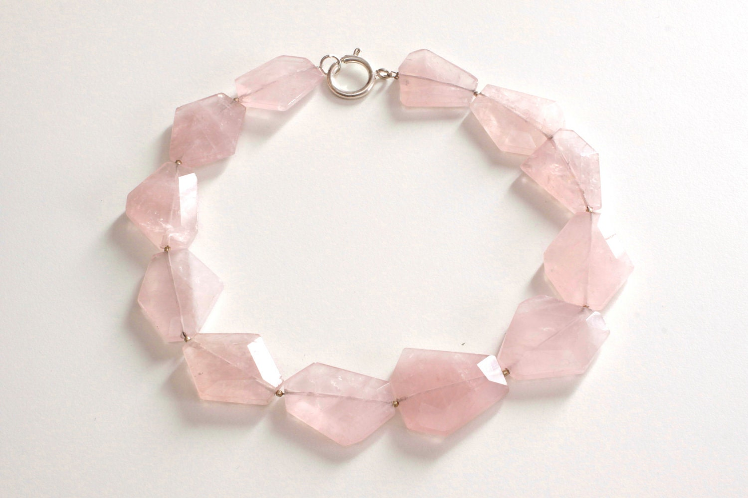 Pink quartz, large stones faceted ,one strand handmade in Italy - vimade