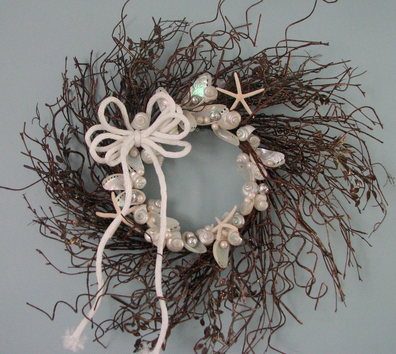 Пляж Декор Рождественский венок - Праздничный венок W Белый Starfish & Корпуса, Twig