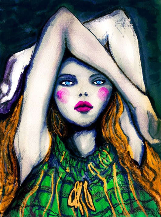 Laying Girl Dark Painting 13inx19in Art Print