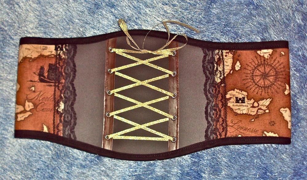 Steampunk MAPS vinyl waist cincher