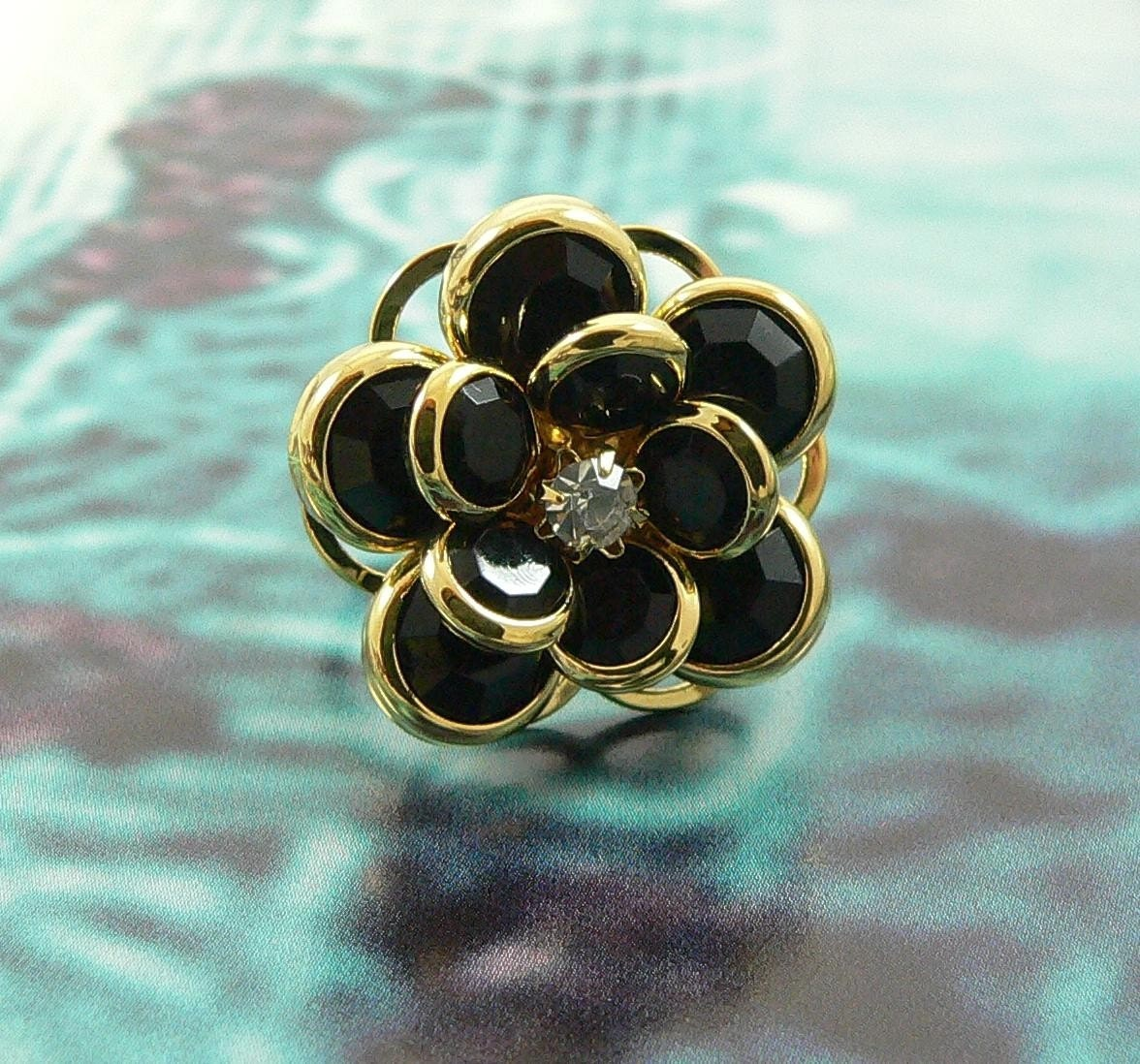 Golden Black Rose Ring.